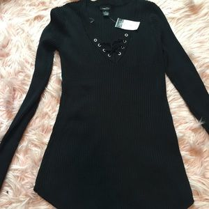 Black Ribbed Top NWT